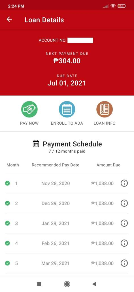 My Home Credit Loan Details