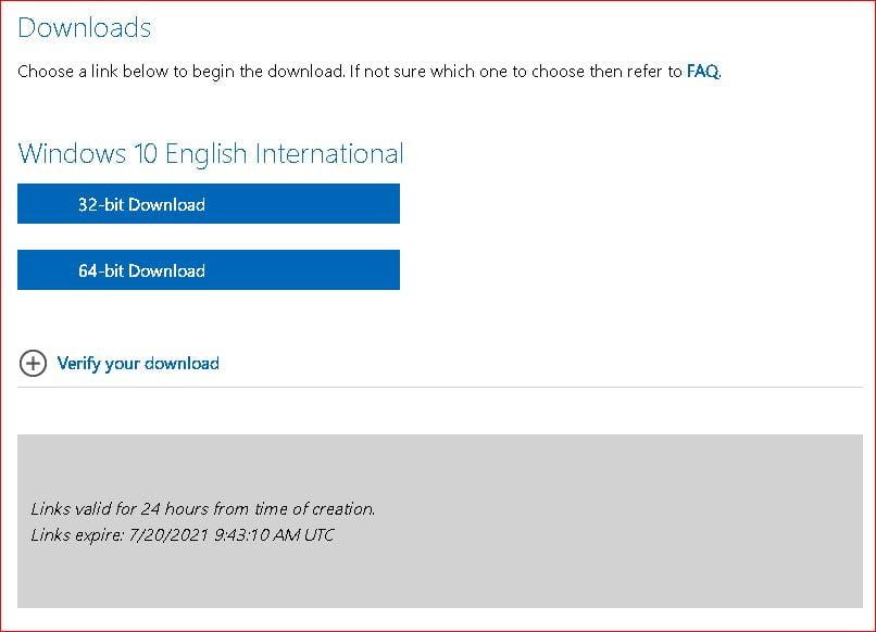 Windows 10 English International 32bit and 64bit ISO download