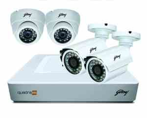 Godrej Security Solutions See Thru 720P 4 Channel 2 Dome 2 Bullet Cameras Full CCTV Camera Kit (White)