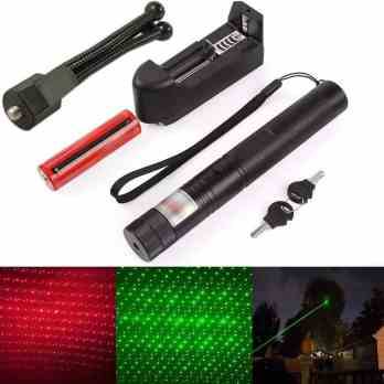 Wuze Rechargeable 1000MW 532nm 308 Adjustable Beam Laser Light with Starry Pointer(Red + Green)