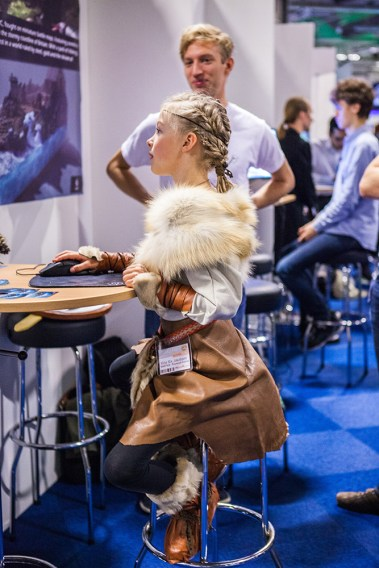 Cosplay girl playing Wartile at Comic Con Malmö 2015