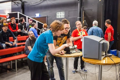 Geeky Gal Eleth playing Pong at Retro Gathering