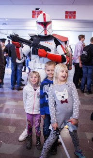 Clone trooper cosplay with fans at Sci-Fi World