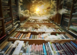 surreal image of a bookcase, camera pointing straight up, and clouds and a sun imposed over the image