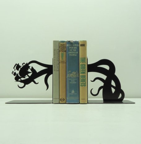 Beware the Kraken (geeky  bookend created by Knob Creek Metal Arts)