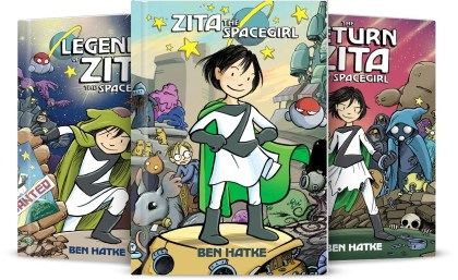 From Left to Right: Legends of Zita the Spacegirl, Zita the Spacegirl, and The Return of Zita the Spacegirl.