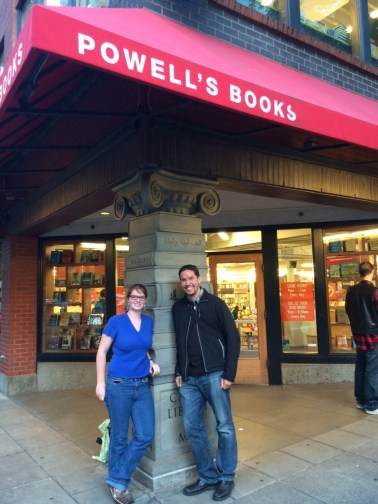 Ian Doescher and Kallen outside of Powells