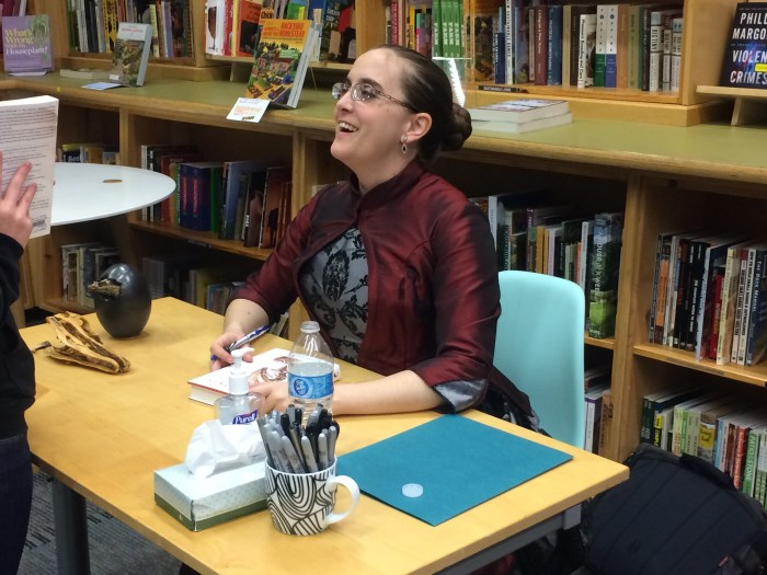 Marie Brennan chats with fans and signs books on April 11 at Powell's Books.