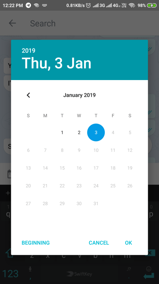 Telegram X search by date feature