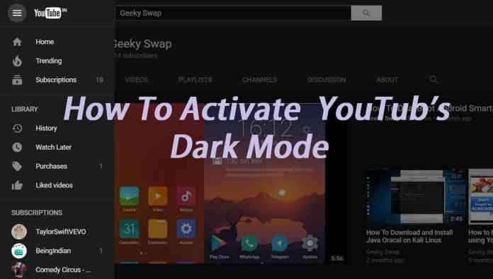 Dark mode of YouTube