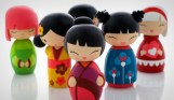 Traditional Japanese Wooden Kokeshi Dolls