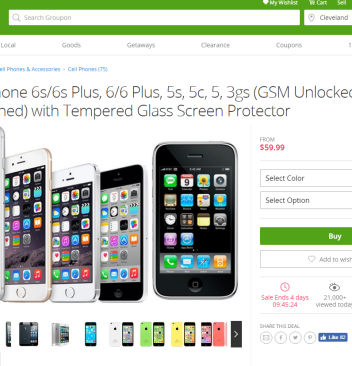 Get Unlocked - No Contract, Apple Iphone 6, 6S, 6 Plus, 6S Plus, 5, 5S, or 5C for just $59.99 in this AMAZING groupon offer.
