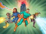 A client's family as superheros