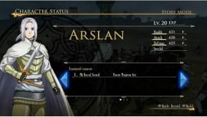 Arslan Status Screen