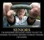 Senior speeding in car
