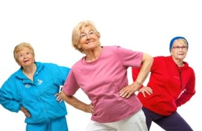 Senior women exercising