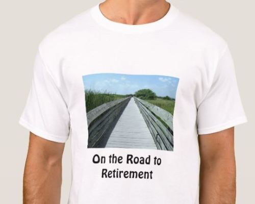 30494583 Senior Female Golfer Mug. On the Road to Retirement Wooden Path T-shirt