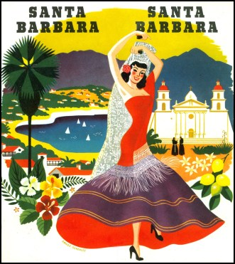 1950s Santa Barbara CA Poster
