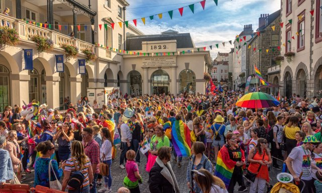 Pride-goers fill the streets of Guernsey in 2018 (photo: Chris George)