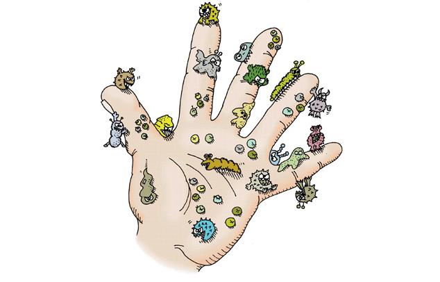 Erregern-infizierte-Hand