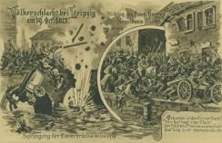 Sprengung der Elsterbrücke, historische Postkarte