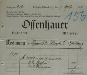 1919: Post von Offenhauer an Ulrich