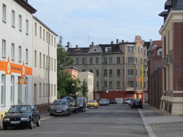 Aus der Rückmarsdorfer auf die Georg-Schwarz-Straße geschaut