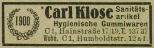 1943: Carl Kloses Eintrag im Leipziger Adressbuch