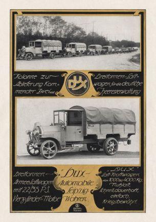 Dux-Anzeige in der Zeitschrift Motor, 1917