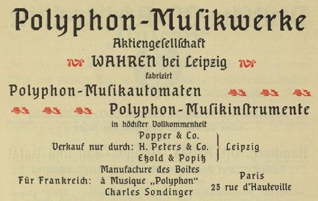 Polyphon-Anzeige im Katalog der Pariser Weltausstellung 1900