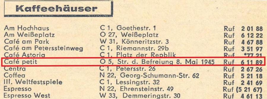 ... und als Café petit im Branchenfernsprechbuch von 1963