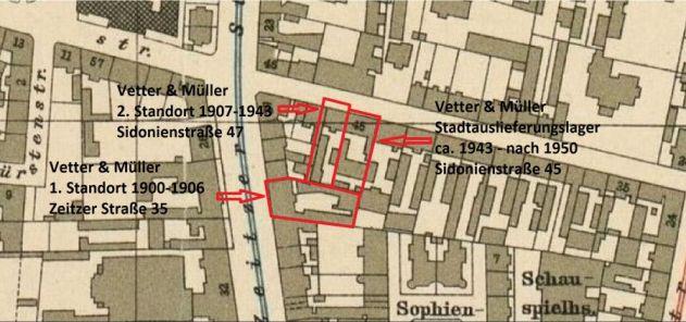 Sidonienstraße und Umgebung auf einer Karte von 1915