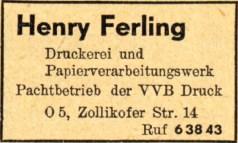 Henry Ferling, Anzeige von 1952