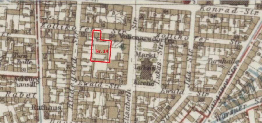 Zollikoferstraße 14 auf einem Stadtplan von 1920