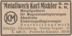 1941 im Adressbuch: Metallwerk Karl Michler