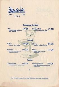 Cocktailkarte der Tanzbar Melodie, 1960