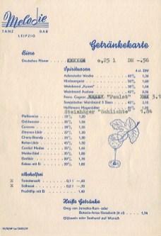 Getränkekarte der Tanzbar Melodie, 1960