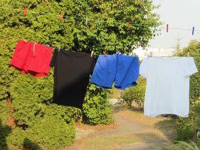 Rote Hose, schwarzes Hemd, blaue Hose, weißes Hemd
