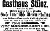 Gasthaus Stünz, Anzeige in der LVZ, 1898