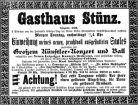 Gasthaus Stünz, Anzeige in der LVZ, 1899