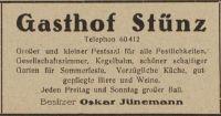 Gasthof Stünz, Anzeige im Adressbuch, 1923