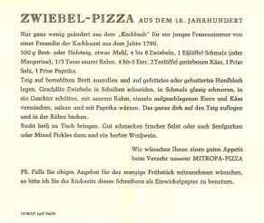 Mitropa-Pizza-Rezept von 1979