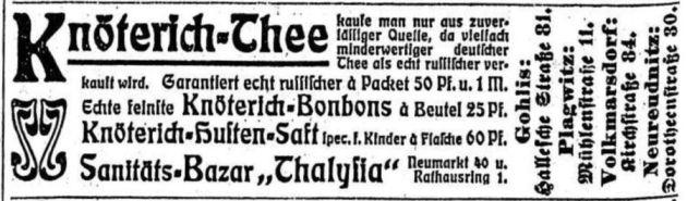 Thalysia-Werbung von 1902 in der LVZ