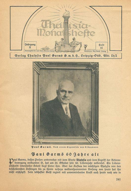 Paul Garms in den Thalysia-Monatsheften vom November 1930