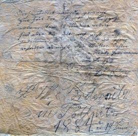 Die Streik-Notizen auf der 1884er Serviette (Quelle: Rainer Guthknecht)
