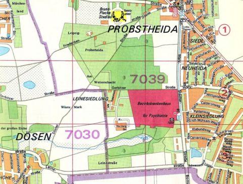 Das Bezirkskrankenhaus für Psychiatrie auf dem Stadtplan von 1983