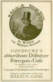 Gose-Reklame im Leipziger Kalender 1918