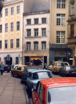 1991: Blick aus der Kloster- zur Barfußgasse