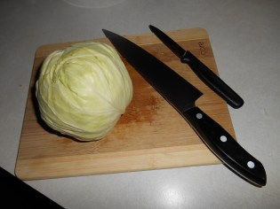 Cutting up the cabbage...
