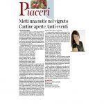 01-10-2016 Corriere del Trentino e dell'Alto Adige Metti una notte nel vigneto Cantine aperte, tanti eventi